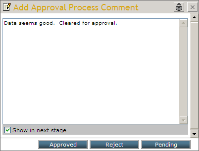 Approval Process Comment dialog box