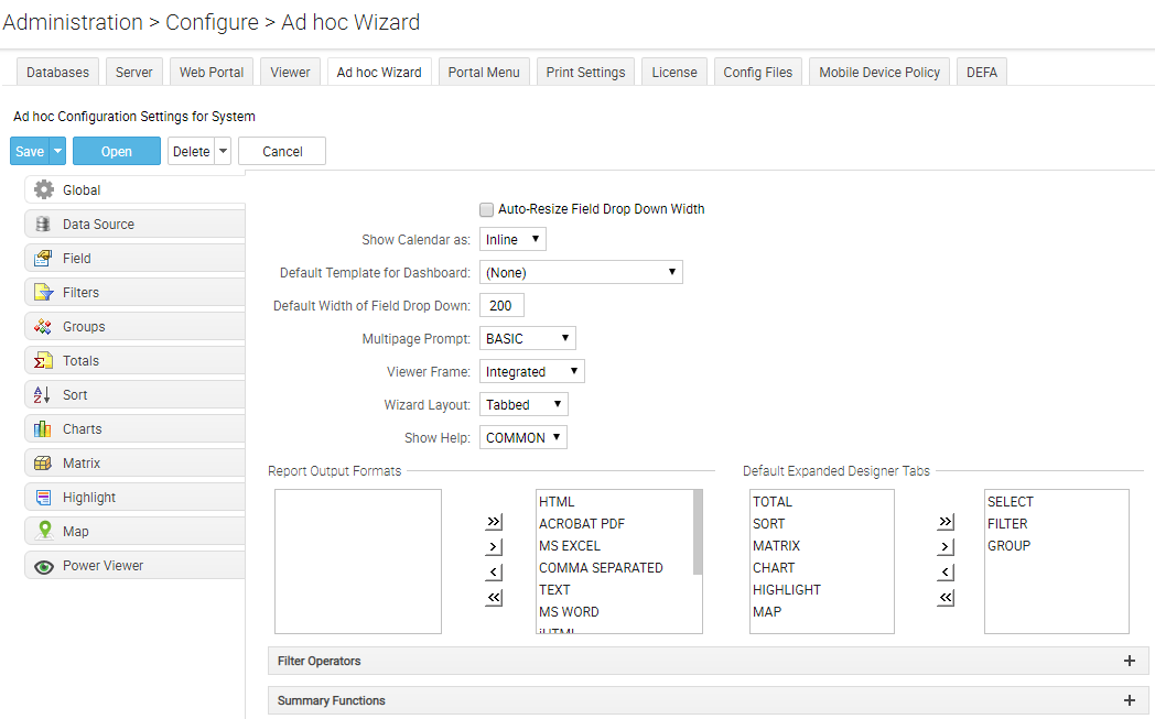 Ad hoc Wizard