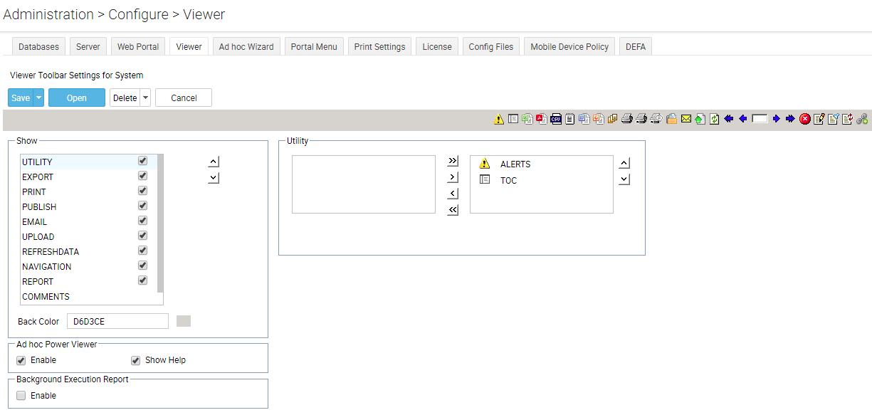 Configure Viewer Toolbar