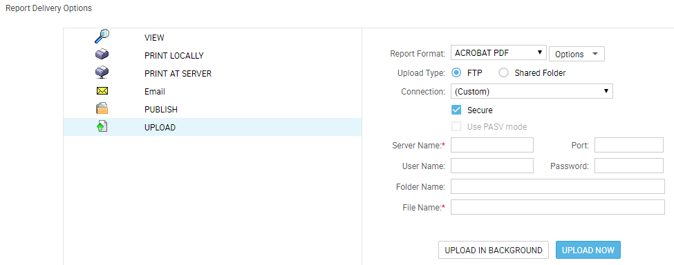 Uploading report to FTP server