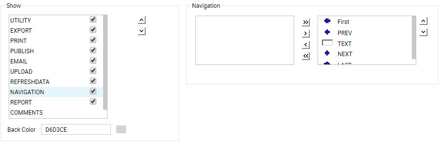 Navigation tool buttons