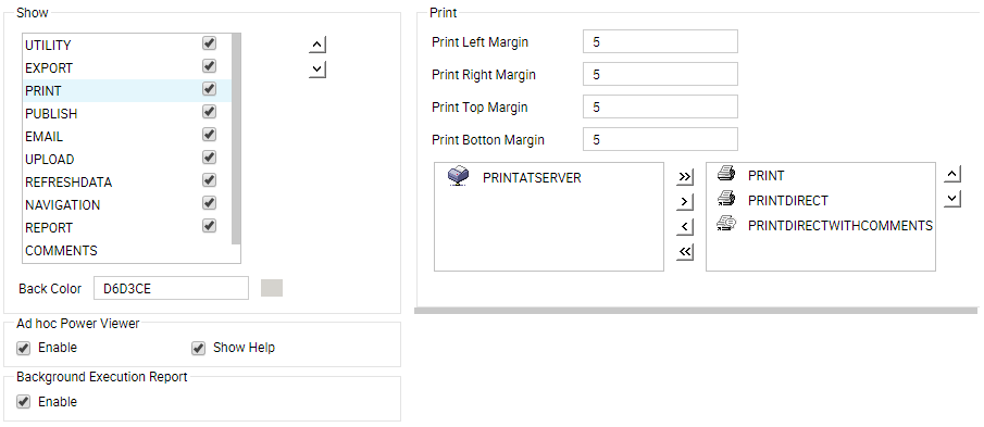 print settings and buttons