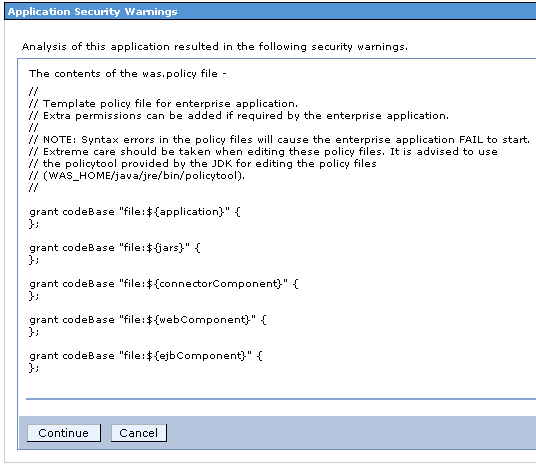 Application Security Warnings