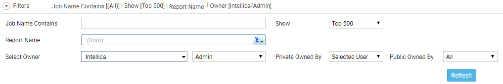 filter area of job page