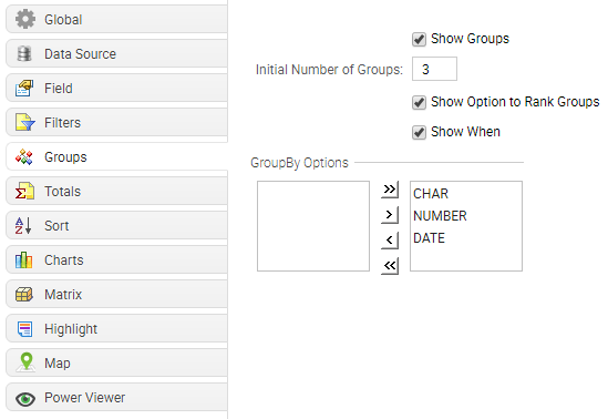 Groups tab