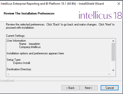 Review the installation preferences