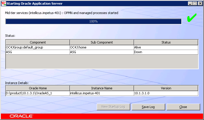 Oracle Application Server window