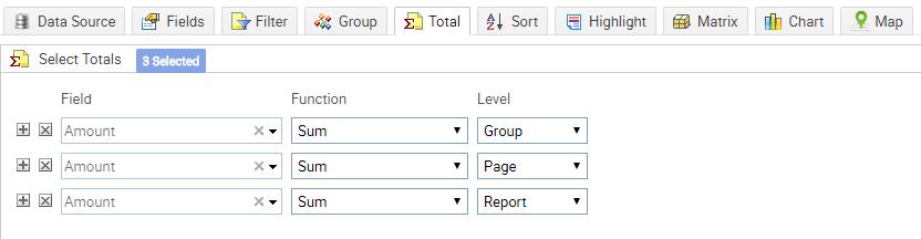 select totals