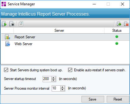 Service Manager dialog