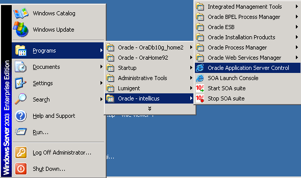 shortcut menu for oracle application