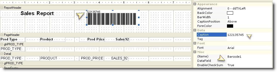 Caption on Barcode