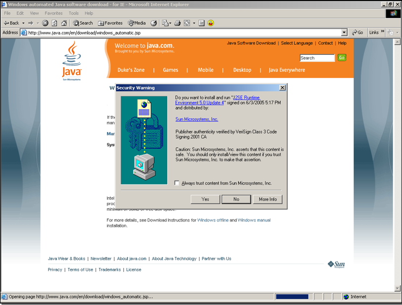 Java's plug-in download site