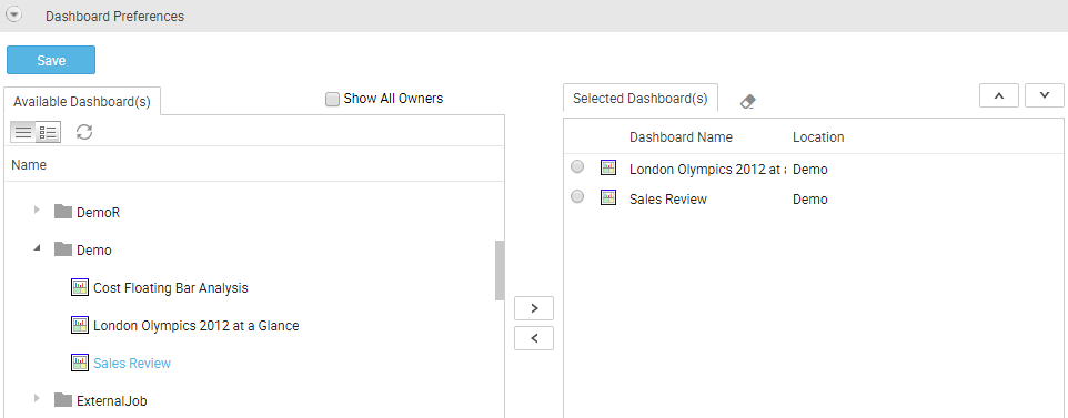 Dashboard Preferences