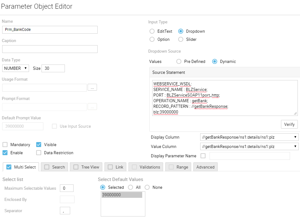 Webservice Connection Parameter Object