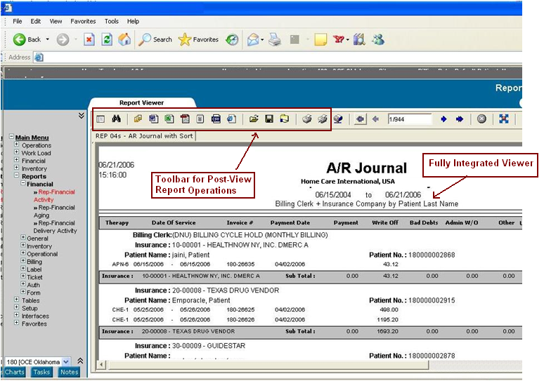 Embedded Report Screen