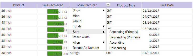 sort options in pre-sorted field