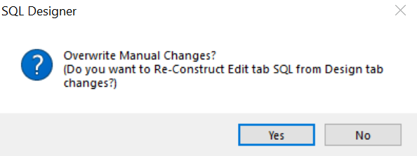 SQL Overwrite Prompt