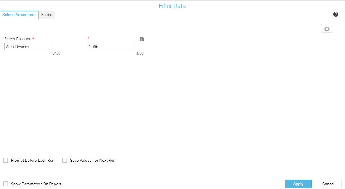 Parameters tab