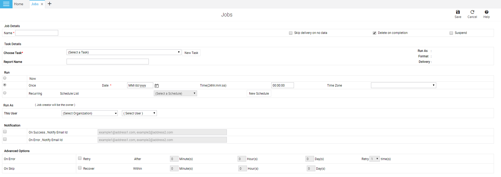 Add job page