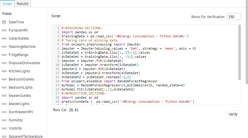 Edit Script box