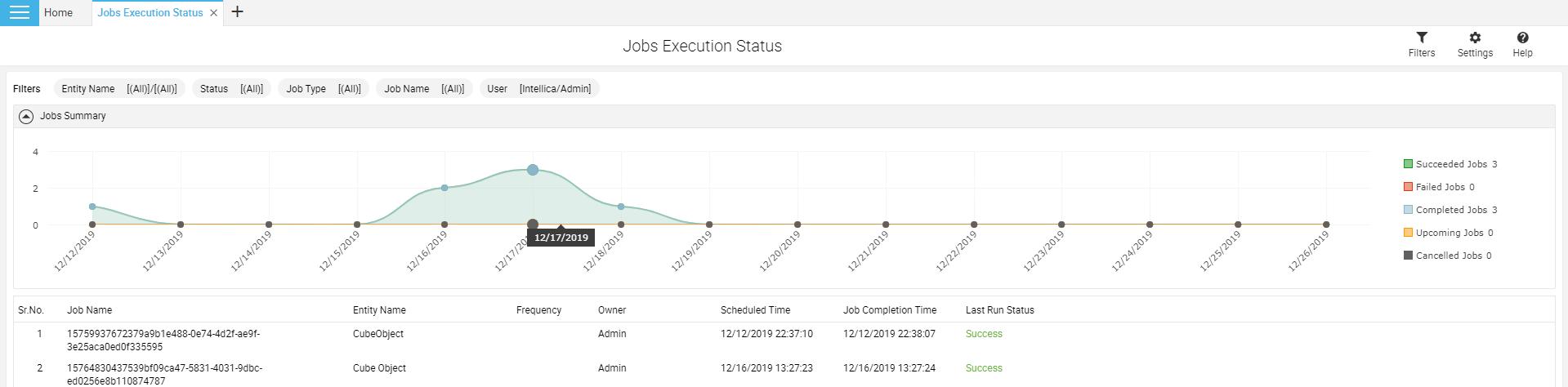 Jobs execution status