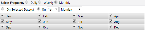Scheduling based on days of month