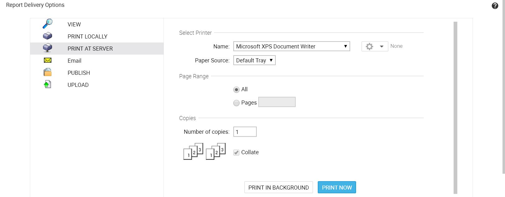 Printing at Server