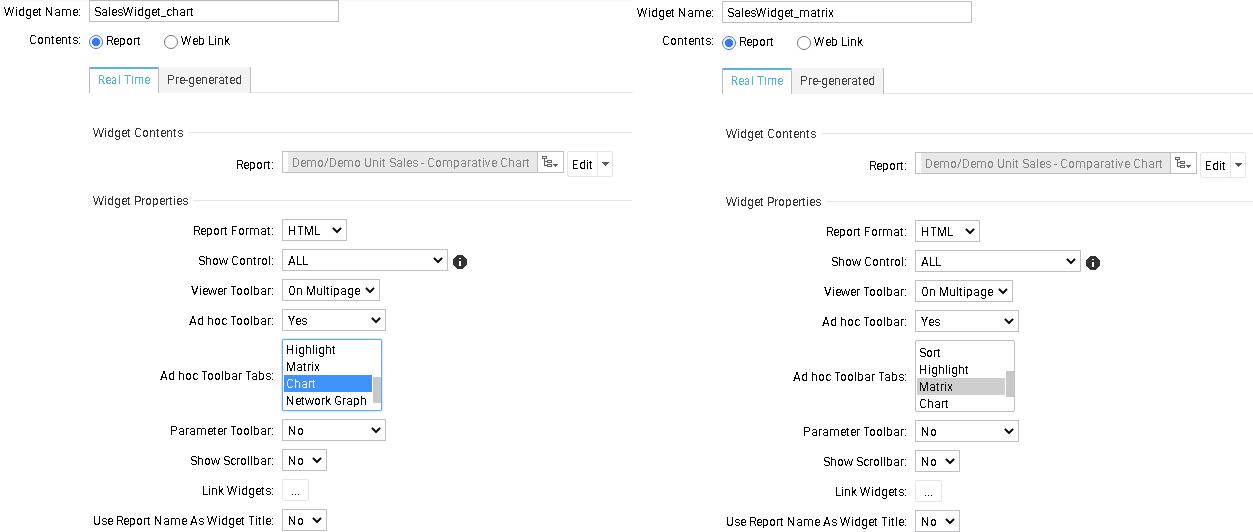 Ad hoc Toolbar in dashboard widget