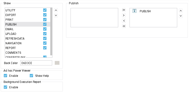 publish tool buttons