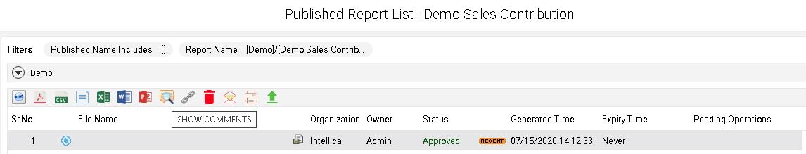 Publish report Toolbar