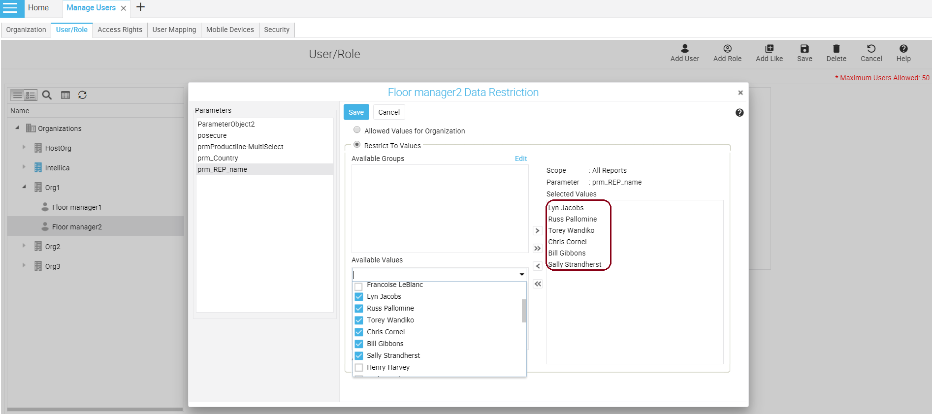 Data Restriction for 'Floor manager2'