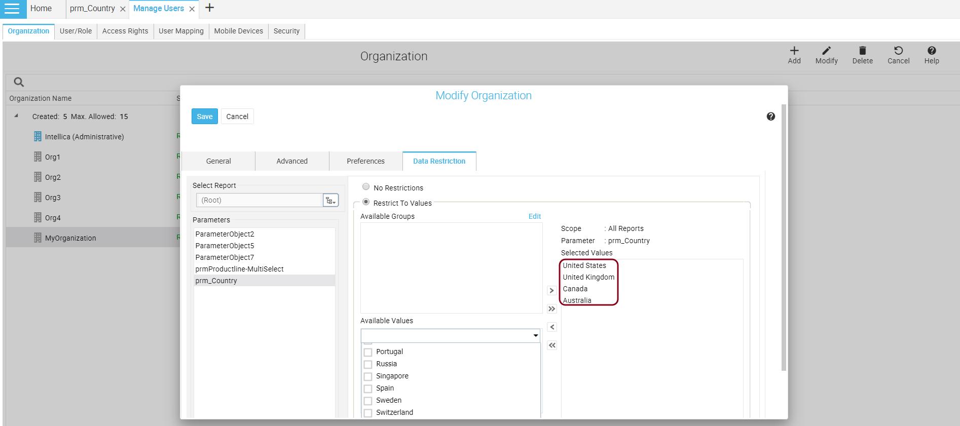 Data Restriction on Organization